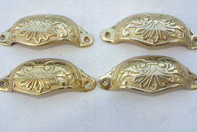 "8 shell handles PULL aged Brass PULL knob kitchen cast POLISHED 4"" screw B 3"
