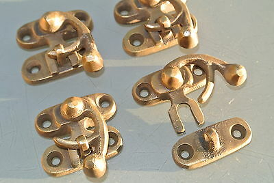 4 small box Latch catch solid brass aged old finish door trinket 3 cm screw B 4