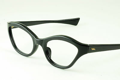 aa82c182bae5 1 of 2FREE Shipping VINTAGE 1950 s 60 s SHINY BLACK EYEGLASS FRAMES HAND  MADE NOS DEADSTOCK FRANCE