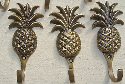 6 small PINEAPPLE solid BRASS HOOK COAT WALL Mount HANG  Polished hook 10 cm B 7