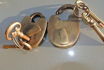 "2 small PADLOCK 2"" old stye solid brass 4 keys heavy lock wedding bridge B 3"