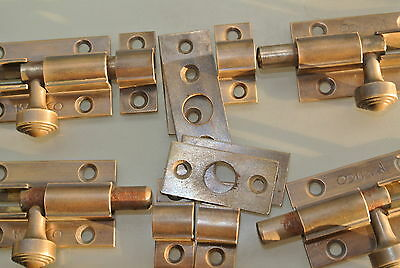 10 small BOLTS old style doors furniture heavy brass flush slide 65mm bolts 3