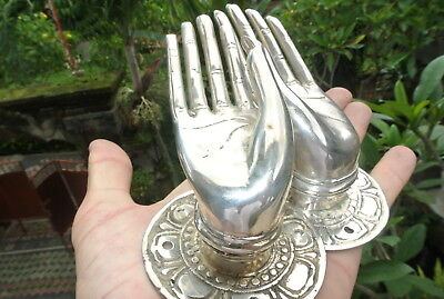 4 small BUDDHA Pull handle open hand brass silver door old style knob hook 6cm B 10