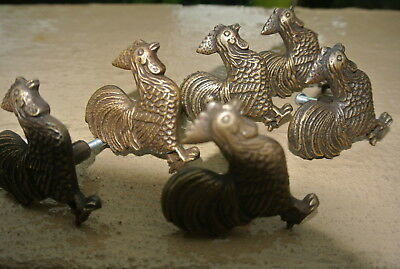 6 small CHICKEN knobs aged solid BRASS old vintage style natural 5 cm high B 7