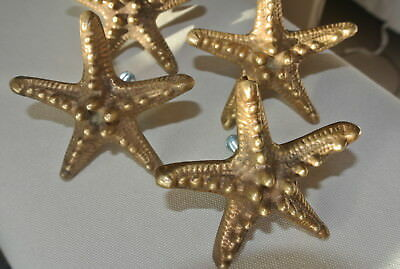 4 small STAR FISH solid BRASS knobs TROPICAL VINTAGE old style 70 mm B 4