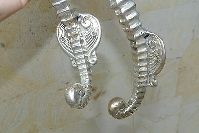 """2 small SEAHORSE solid brass door SILVER old style house PULL handle 10"""" B 4"""