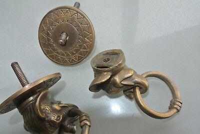 "2 ELEPHANT pulls handles antique solid brass vintage drawer knobs ring 2.1/4"" B 7"