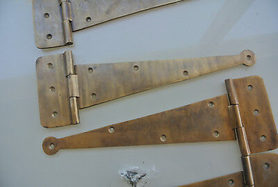 4 large hinges screws old aged style cast solid Brass DOOR BOX heavy 26cm long B 5