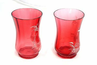 Antique Set of MARY GREGORY ART VICTORIAN GLASS CRANBERRY Pitcher and 2 Cups