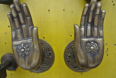 Pair large BUDDHA Pull handles hand aged heavy cast brass door old style 10 cm B 11