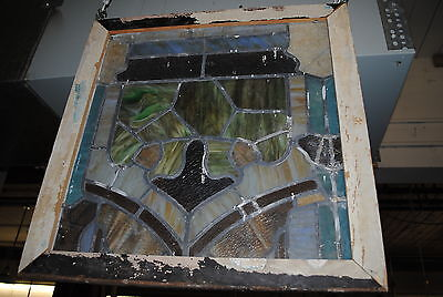 Antique Stained Glass Window,church, Flower,  multi colored, lead, vintage 3