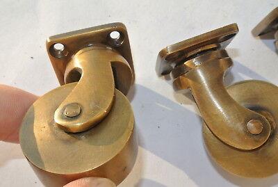 4 small screw castor chair table wheel brass 5.7 cm high heavy castors B 4