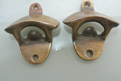 2 x PLAIN  Bottle Opener solid brass works AGED  finish screws included heavy B 5