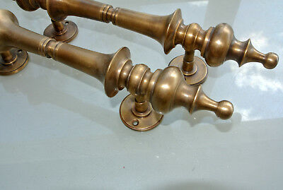 """4 large DOOR handle pull solid SPUN brass vintage old style hollow 30cm 12 """"B 6"""