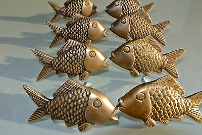 "8 aged ANTIQUE old style FISH Cabinet Door solid pure Brass KNOB Drawer Pull 2""B 2"