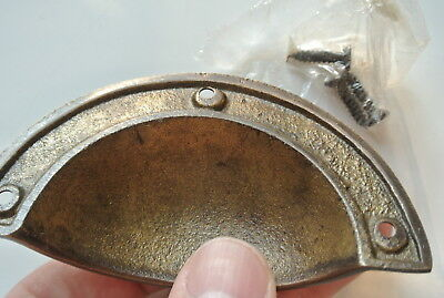 8 CAST shell shape pulls handles heavy solid brass old  aged style drawer 10cm B 6