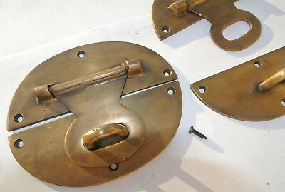 "2 large heavy HASP & STAPLE 5"" wide OVAL catch latch box door solid brass B 8"