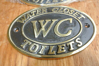 "2 toilet solid brass signs "" WC "" water closet screw door cast heavy 11.5 cm B 4"