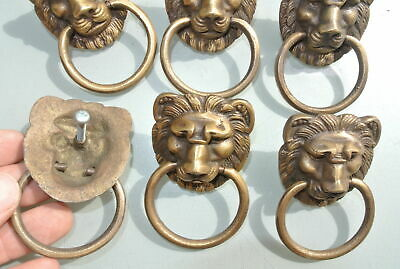 6 LION pulls handles Small heavy  SOLID BRASS old style bolt house antiques 9