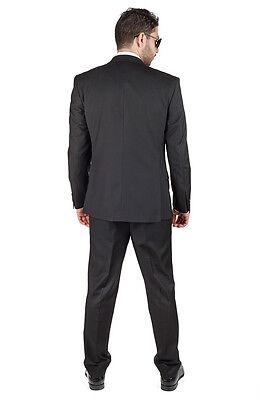 7f073b8156f 6 of 8 Slim Fit Men Suit 3 Piece Vested Solid Black Notch Lapel Double  Vents AZAR MAN