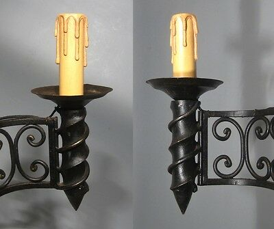 "Large Vintage French Wrought Iron Sconce, ""Chateau"" Style, 19 x 13 inches 5 • CAD $441.43"