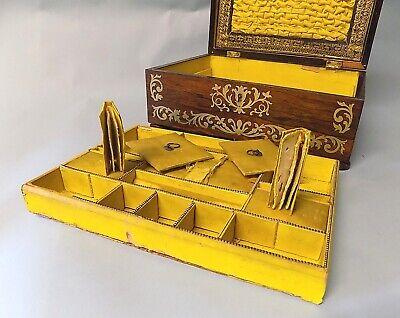 Antique Regency Rosewood Sewing Box. Brass Inlays. Original. Genuine. 5