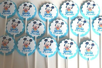 Baby Shower 30 30 IT/'S A BOY BABY MONKEY Cupcake Toppers Birthday Party Favors