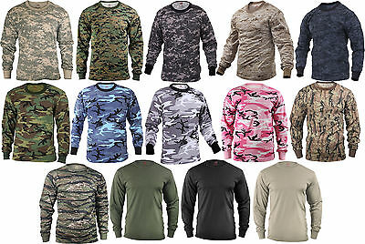 Camo Long Sleeve T-Shirt Tactical Military Crew Tee Undershirt Army Camouflage 4