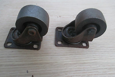 """2"""" Cast Iron Swivel Castor Wheels Cabinet Chair Furniture Trolley Table Casters 2"""