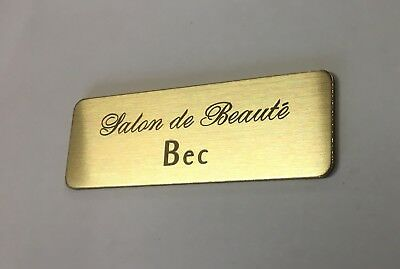 Brushed Gold Name Badge with Text and pin attached Laserable Plastic 70 x 23 mm 9