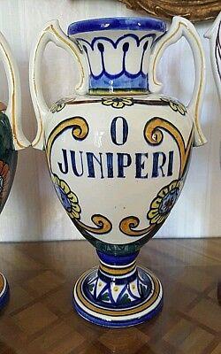 """3 alte Apotheken Amphoren Henkel Vase """"O Juniperi"""" Granada Handgemalt  Vintage 10"""