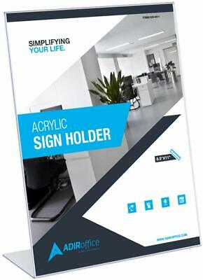 AdirOffice 8.5 in x 11 in Slanted Side-Loading Acrylic Sign Holder 12 Pack 2