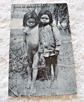 VINTAGE REAL PHOTO POSTCARD MEXICO UNDRESSED MEXICAN KIDS C1915