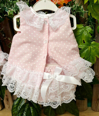DREAM 0-5 YEARS baby girls summer pink spot angel top frilly pants  reborn dolls 3