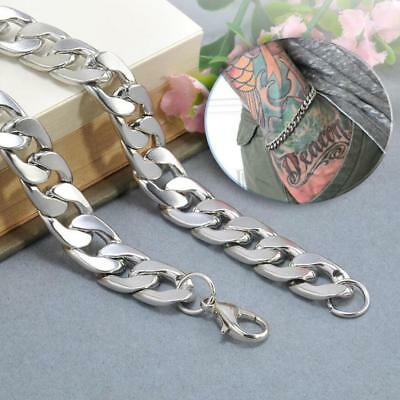 Silver Men's Stainless Steel Link Punk Chain Bracelet Wristband Bangle Jewelry 5