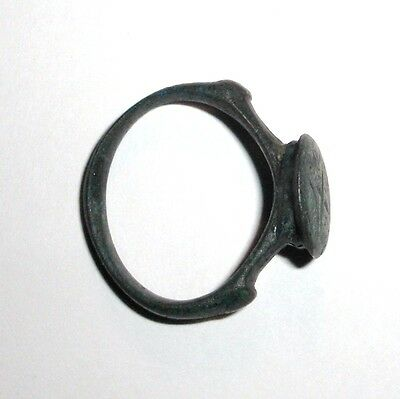 Ancient Byzantine Empire, c. 8th - 10th AD. Bronze Ring, Cross 3