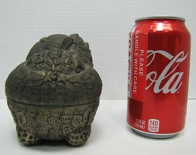 Antique Foo Dog Decorative Arts Container Punched Hammered Stamped Metal Box 9