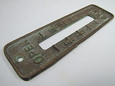 Old Brass Brnz OPEN SHUT Cover Plate Architectural Hardware elevator industrial