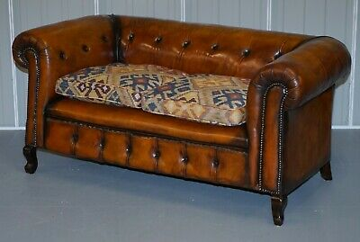 1 Of 2 Restored Victorian Gentleman's Club Chesterfield Leather Sofas Kilim Seat 3