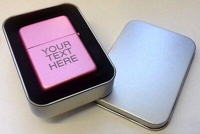 Engraved PINK Personalised Star Petrol Lighter Birthday Valentines Present Gift 2