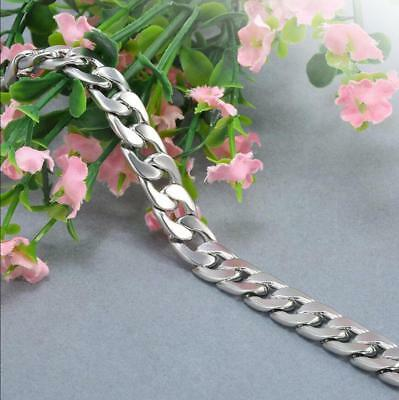 Silver Men's Stainless Steel Link Punk Chain Bracelet Wristband Bangle Jewelry 10