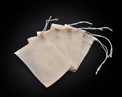5x Cotton Reusable Empty Tea Bags - Healthy washable herbal infuser teabags