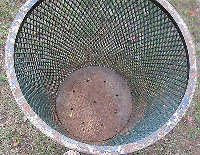 Antique City Park Steel Mesh Trash Can Table Base Fire Pit Waste Basket Hamper 4