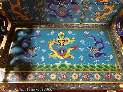 China Palace Bronze Cloisonne Enamel Dragons Chair Dragon Throne Emperor Stool 4