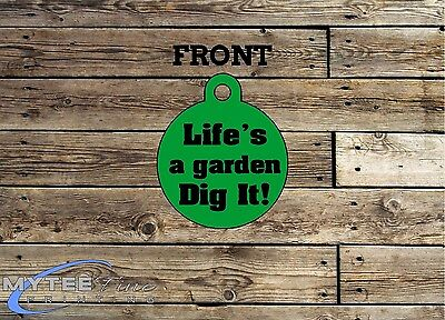 Funny Pet Tags Dog Cat ID Life's A Garden Dig It Personalised Pet Charm tag ID 2