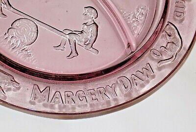 2 Vintage Mother Goose Children Pink Depression Glass Bowl Plate Tiara Set 5