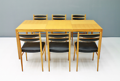 60er Years Dining Area Table & 6 Chairs Cherry & Leather Table Dining Room 60s 4