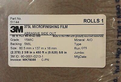 1 Case 3M 373L Microfinishing Film 3 Rolls 2.375x450x5/8 Abrasive side out 15MIC 2