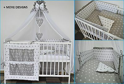 5 Pieces Grey Elephant Baby Bedding Set Cot Cotbed - Luxury Canopy+ Bumer+More 4