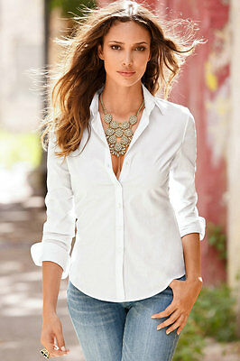 Womens Turn Down Collar OL Long Sleeve Blouse Ladies Office Work Shirts Clothing 5